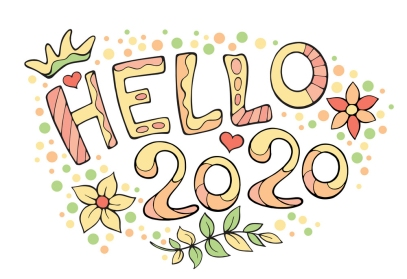 Modern funny lettering Hello 2020. Hand color drawing ornament l